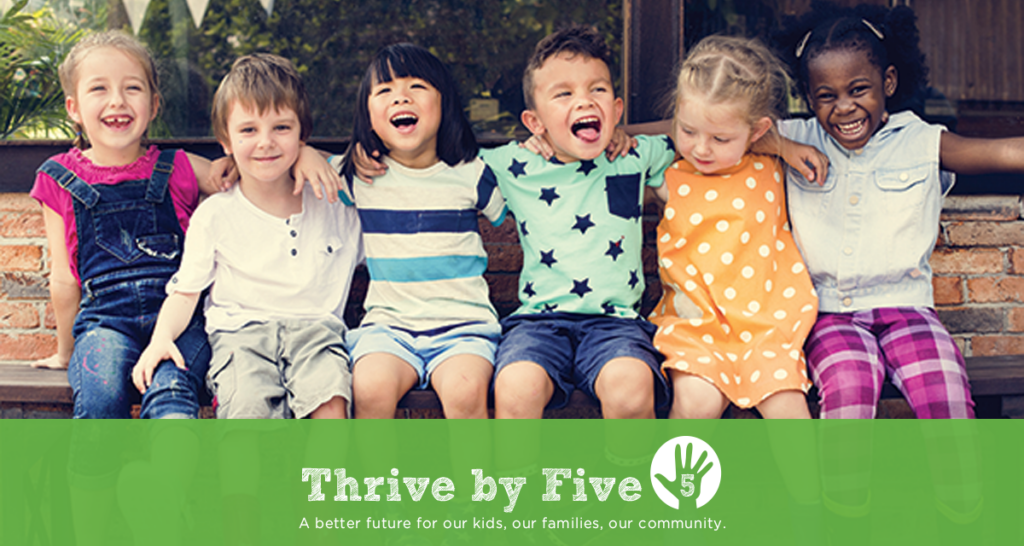 Pre-K Kids on Bench with Thrive by Five Logo